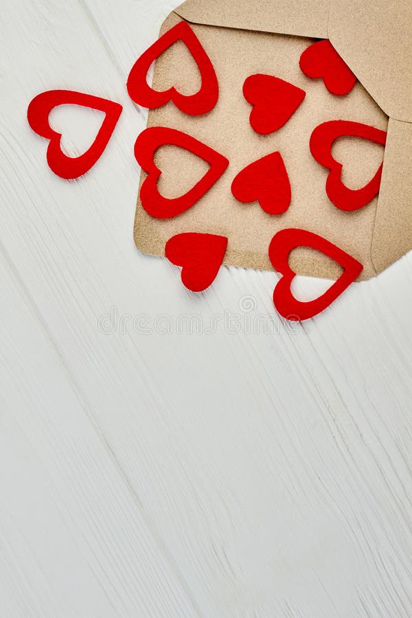 Opened envelope with hearts flying out. stock photography