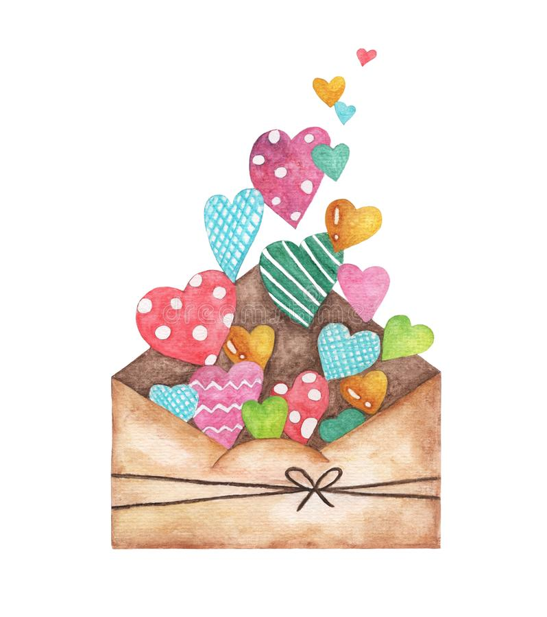 Opened envelope and many cute hearts, Love Letter Hearts Romance. watercolor illustration isolated on white background.  stock illustration