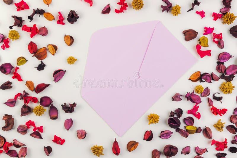Opened envolve cercado pelas pétalas e pelas folhas secadas coloridas das flores Vista superior, configuração lisa fotos de stock royalty free