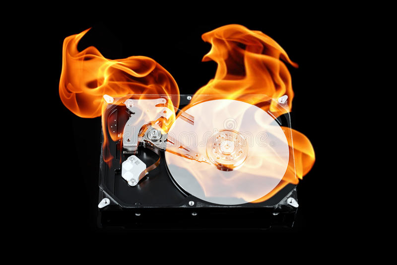 Opened external hard drive on fire. Hard disk failure. Data loss concept, computer crash. royalty free stock image