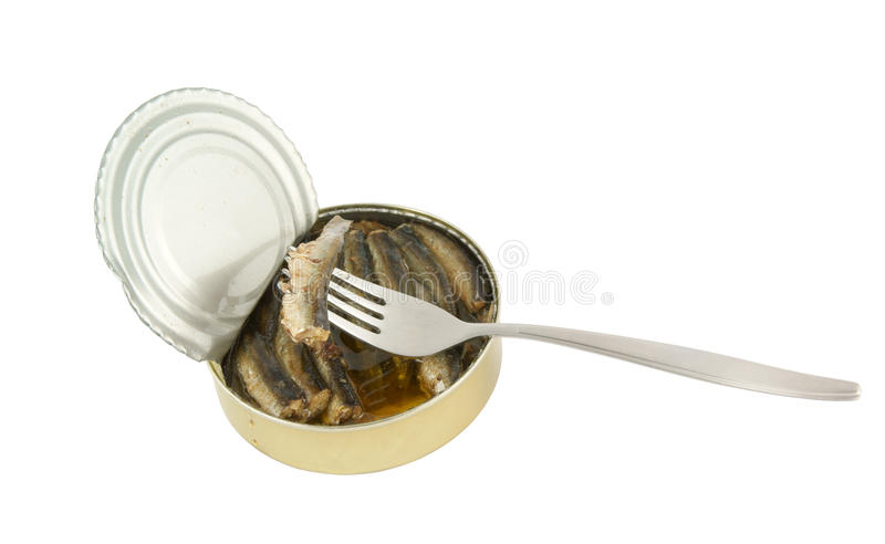 Download Opened Fish Can With Fork Isolated Stock Photo - Image: 13541868