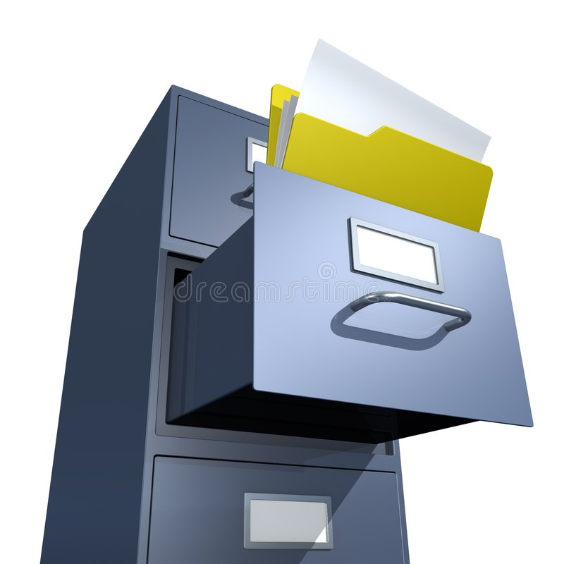 Opened Folder. 3D rendered file drawer with opened folder over white background stock illustration