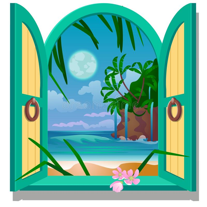 Opened frame window with a view of sandy beach of the sea coast by moonlight. Vector close-up cartoon illustration. royalty free illustration