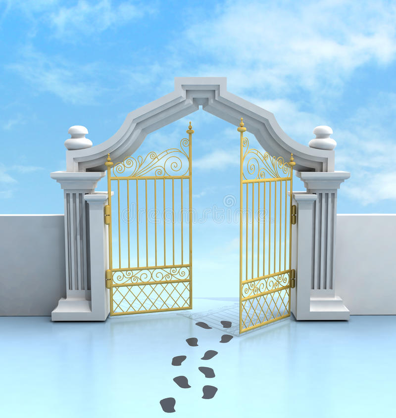 Opened golden entrance with footprints and sky vector illustration