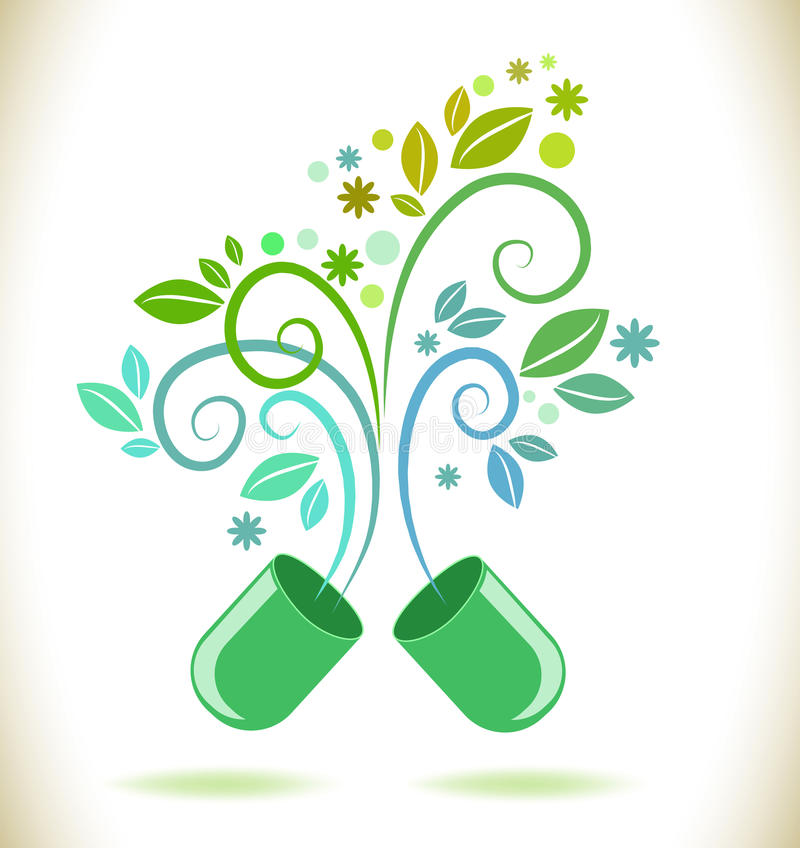 Opened green color pill with leaf royalty free illustration