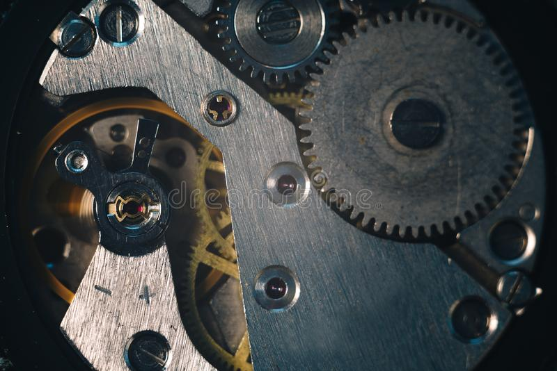 Opened hand watches moving mechanism macro Extreme close-up. Time is running concept image stock photo