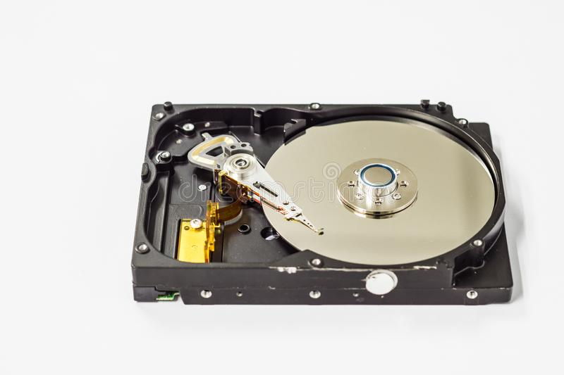 Opened hard drive for computer data storage technology stock photo