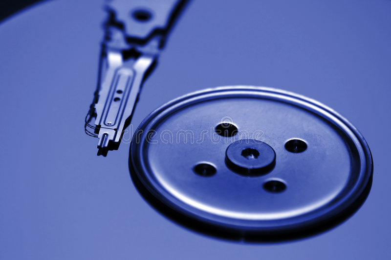 Opened harddisk drive. 2.5 inch diameter royalty free stock photography