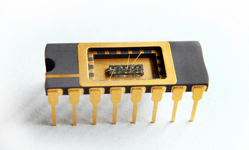 Download Opened IC With Chip Inside On The White Background Stock Image - Image: 21156413