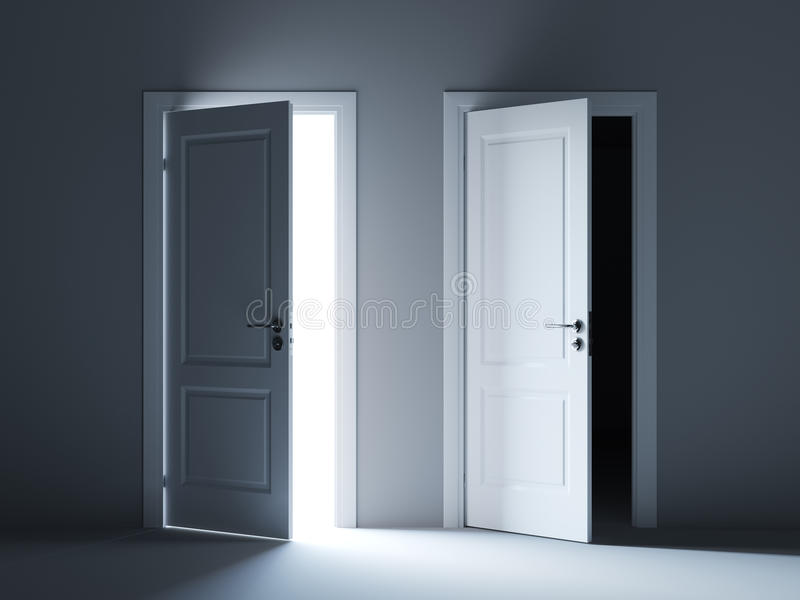 Opened light and dark way doors royalty free illustration