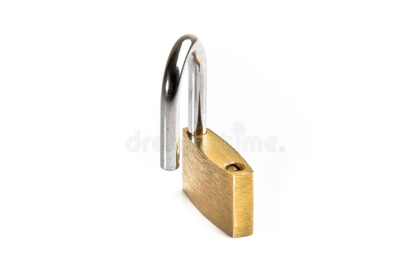 Opened lock security isolated stock photos