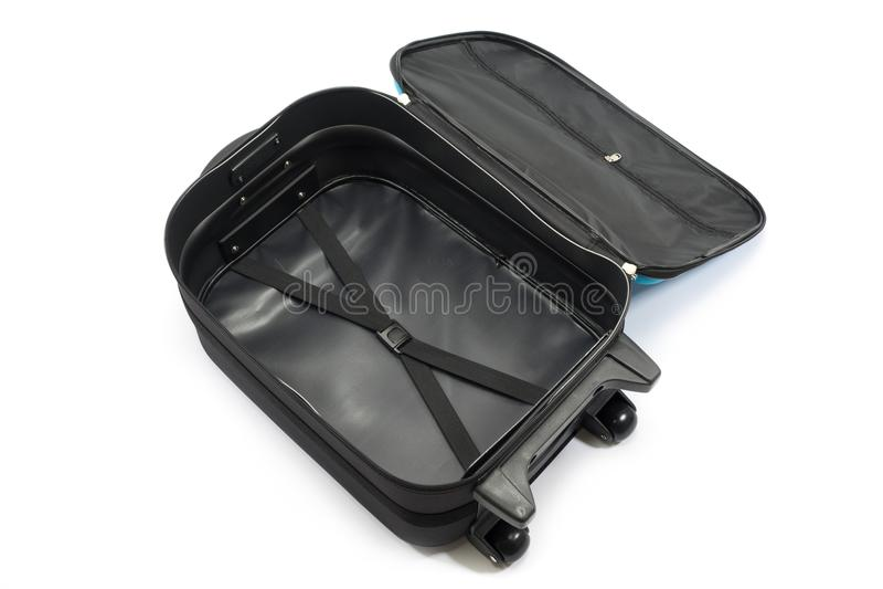 opened luggage on white background stock image