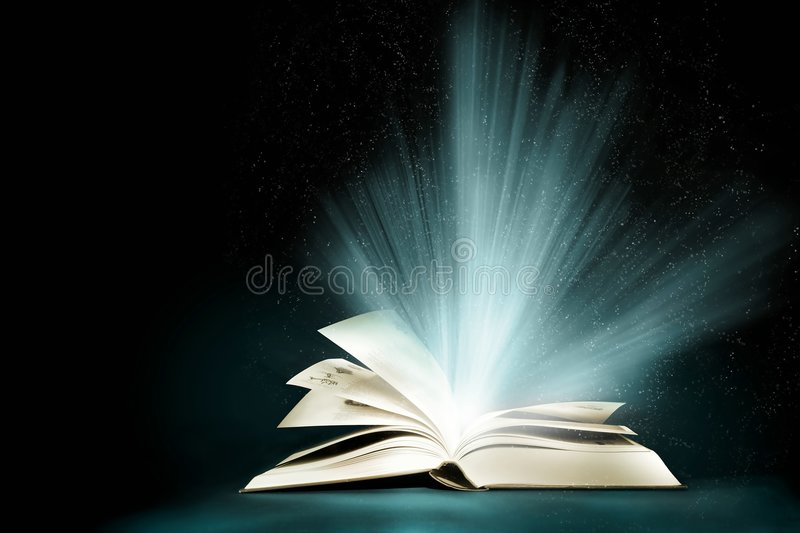 Opened magic book royalty free stock photos