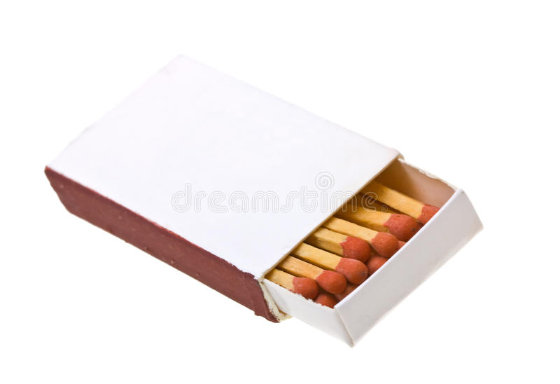 Opened matchbox isolated on a white. Background royalty free stock images