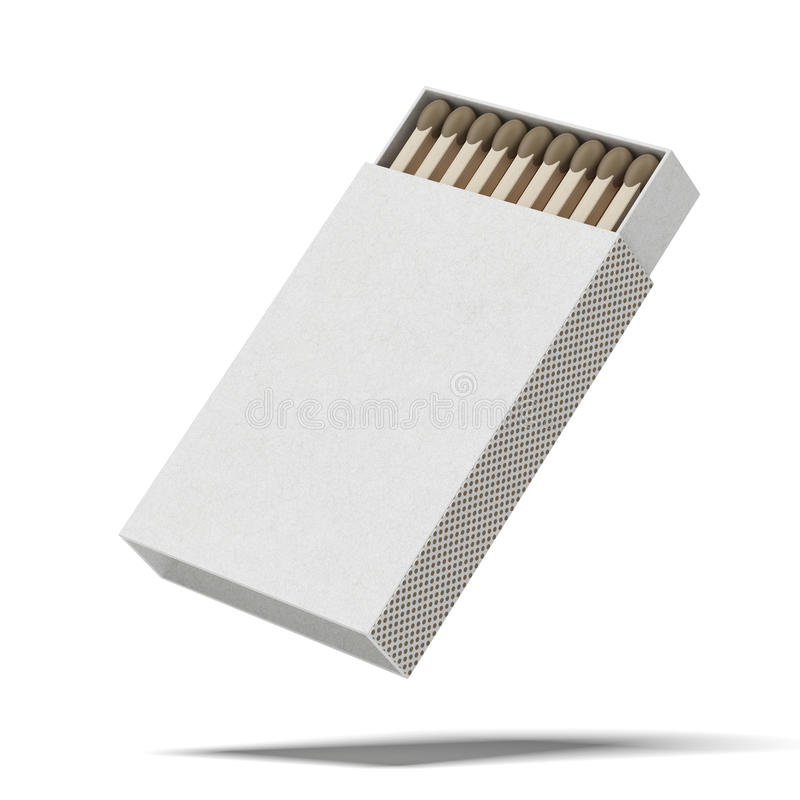 Opened matchbox. Isolated on a white background stock photography