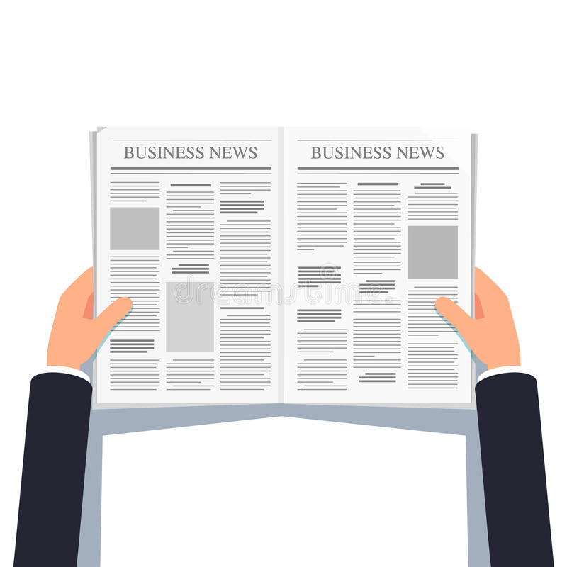 Free Opened Newspaper In Businessman Hands Stock Photos - 91590393