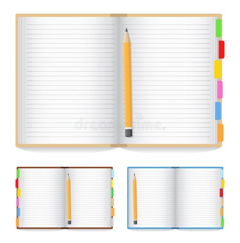 Opened notebook stock illustration