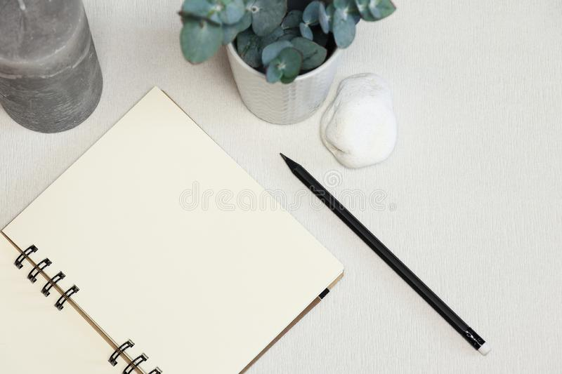 Opened notebook with black pen, green plant, stone and candle stock image