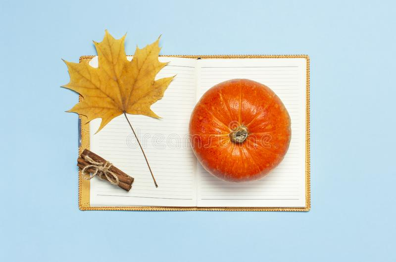 Opened notebook, orange pumpkin, cinnamon, yellow autumn maple leaf on blue background top view flat lay. Concept of study, workin royalty free stock photos
