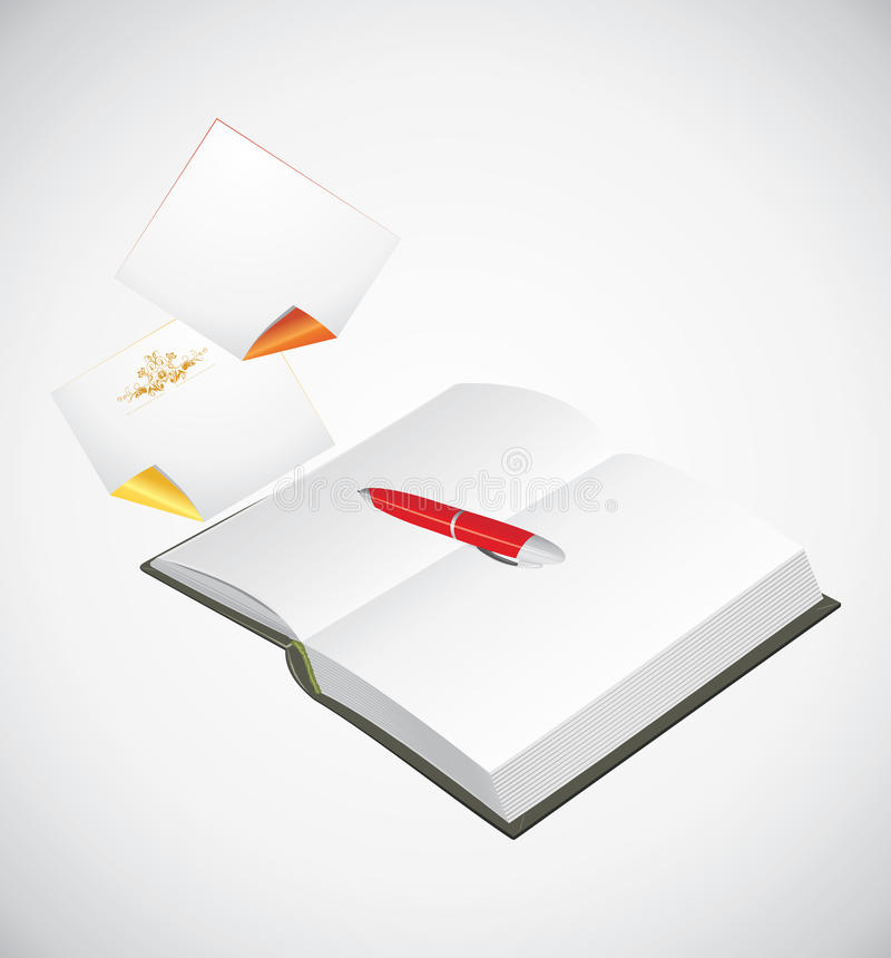 Opened notepad, ballpen and curled pages royalty free stock photo