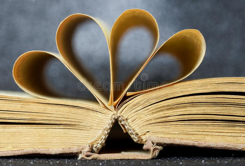 Opened old book on a dark background. Library archive. History and memoirs. Educational and fiction royalty free stock photos