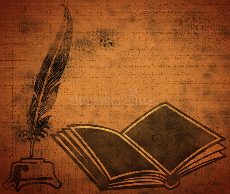 Opened book with quill stock illustration