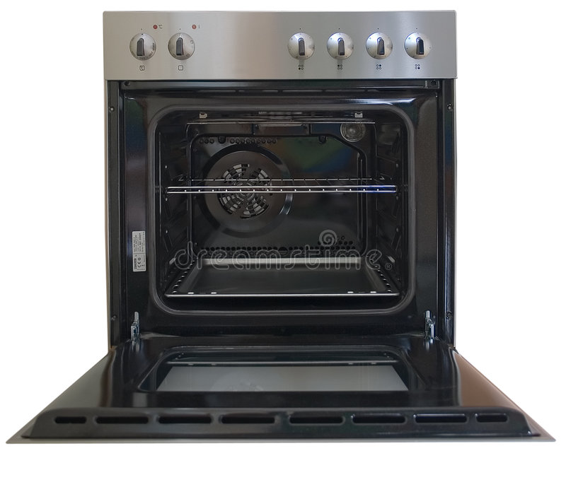 Opened oven 2. Front view of opened oven