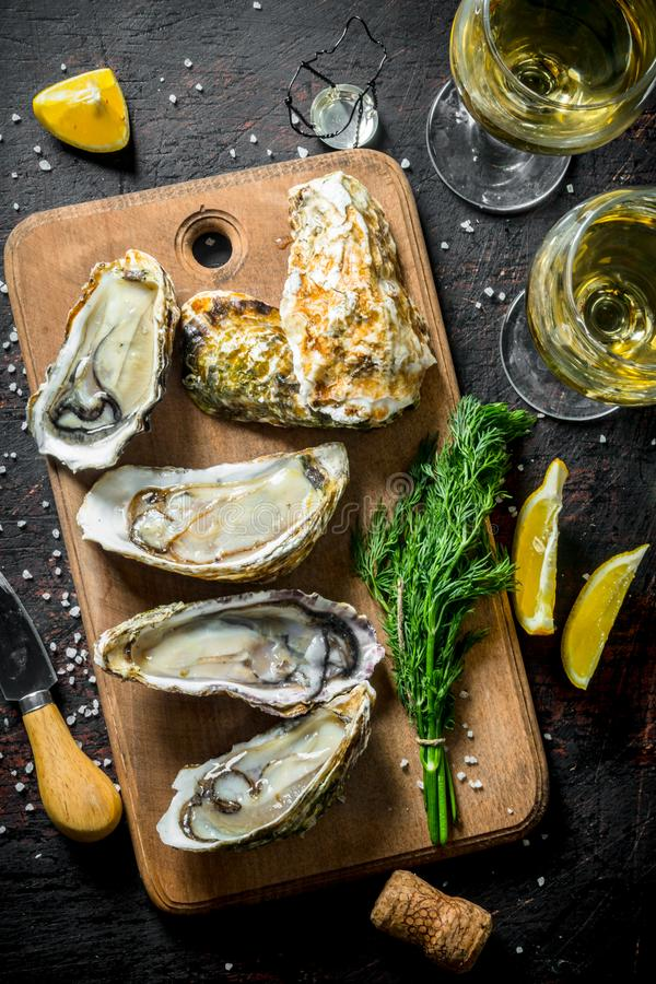 Opened oysters on a cutting Board with white wine, a bunch of dill and lemon slices. On dark rustic background royalty free stock image