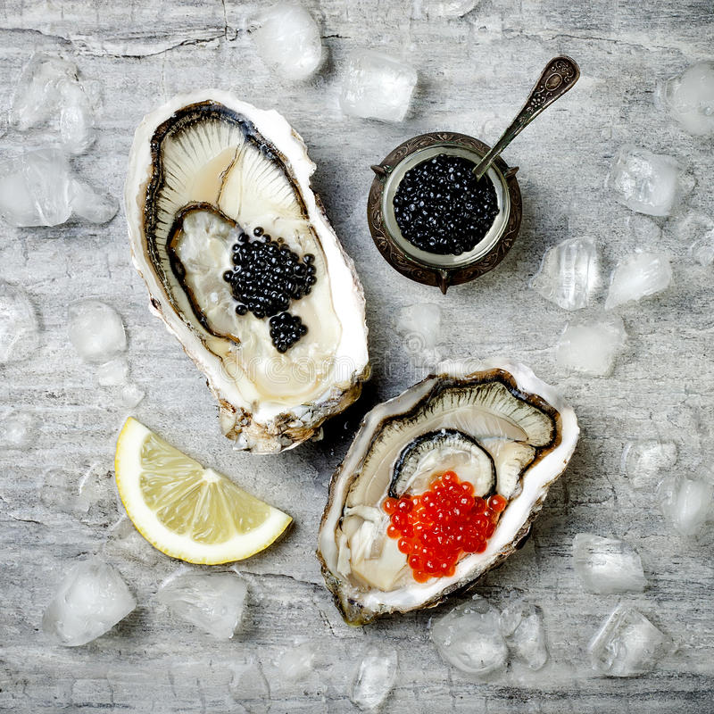 Opened oysters with red salmon and black sturgeon caviar and lemon on ice on grey concrete background. Top view, flat lay. Copy space royalty free stock images
