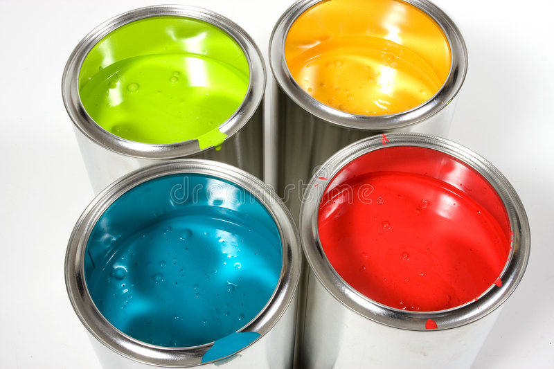 Opened paint buckets colors stock photography