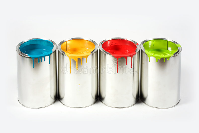 Opened paint buckets colors stock photo