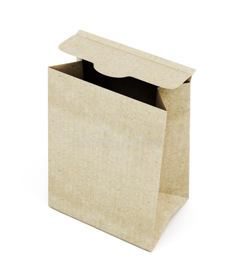 Opened paper bag isolated on white background. 3d rendering.  royalty free illustration