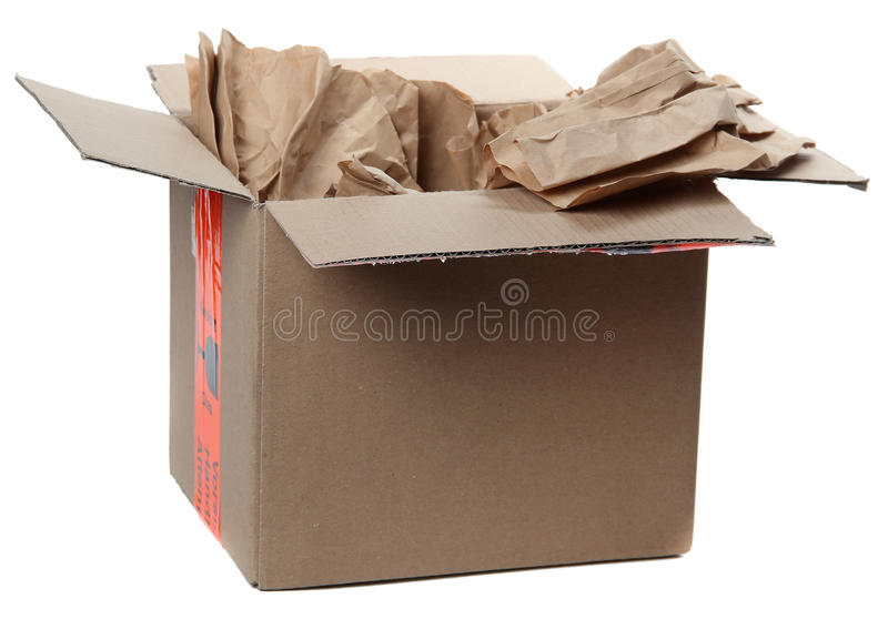 Opened Parcel With Brown  Paper Royalty Free Stock Photography