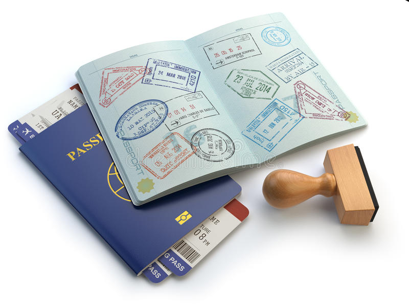 Opened passport with visa stamps and airline boading pass ticket download opened passport with visa stamps and airline boading pass ticket stock illustration illustration of thecheapjerseys Images