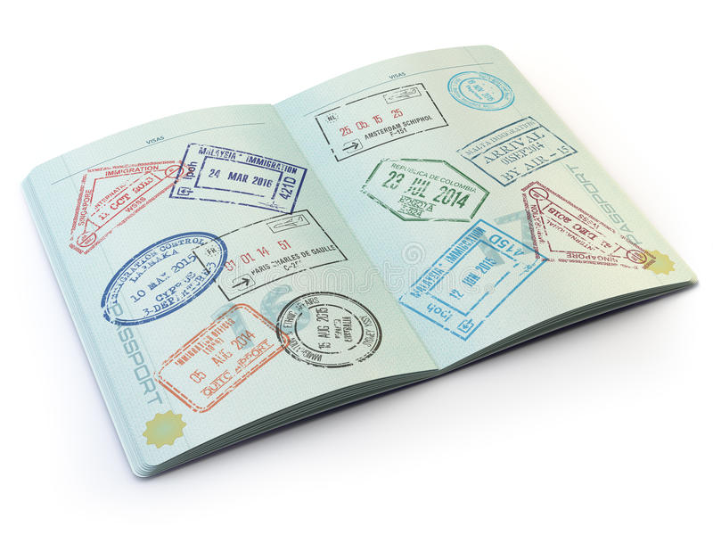 Opened passport with visa stamps on the pages isolated on white stock illustration