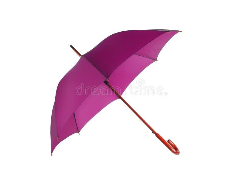 Opened pink umbrella isolated. On white background stock image