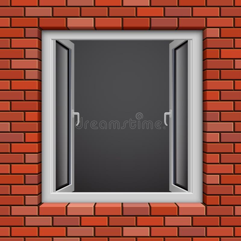 Opened plastic window vector illustration