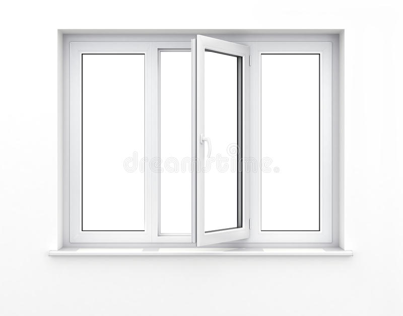 Opened plastic window. stock illustration