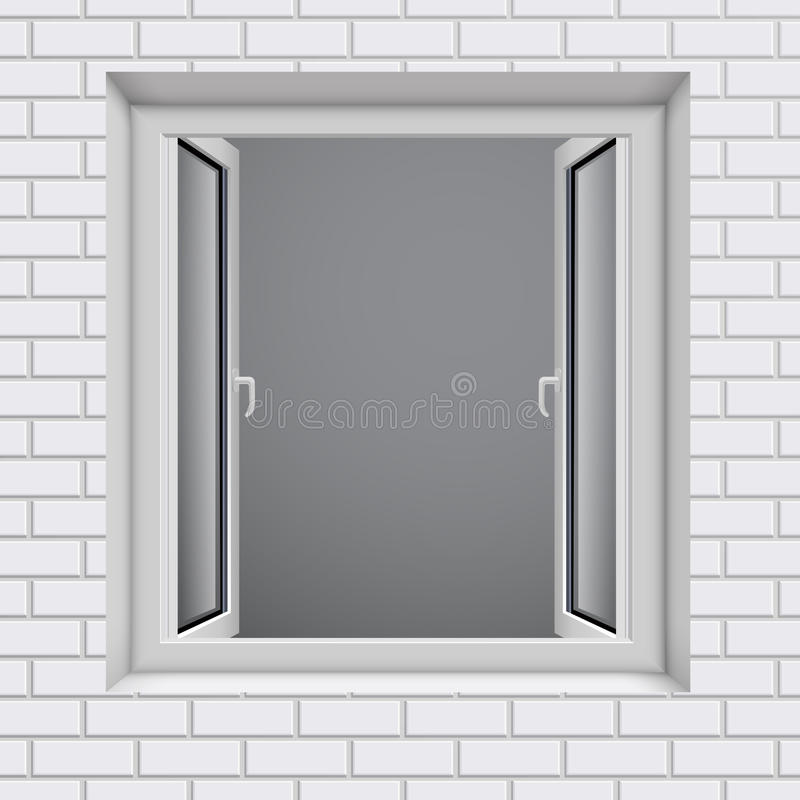 Opened plastic window in white brick wal stock illustration