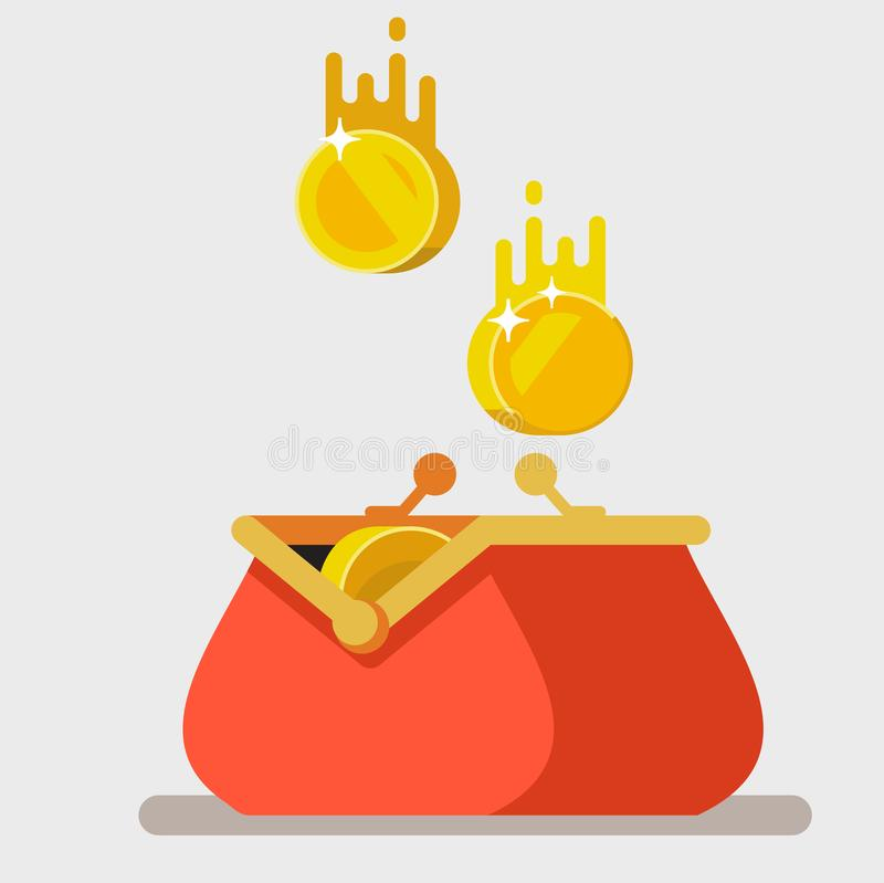 Opened purse with gold coins raining to open wallet. royalty free illustration