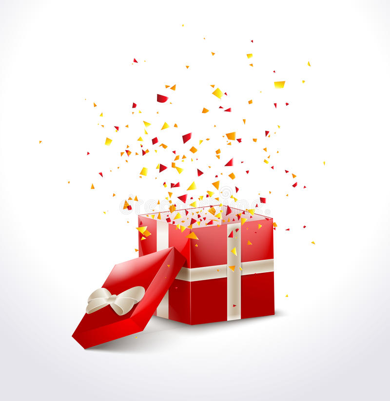 opened red gift box with ribbon and flying confetti