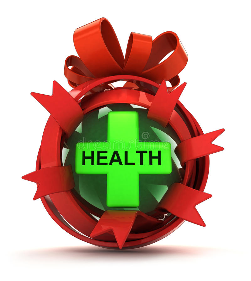 Opened red ribbon gift sphere with green health cross inside stock illustration