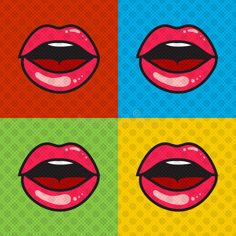 Opened red lips with tongue and teeth royalty free illustration
