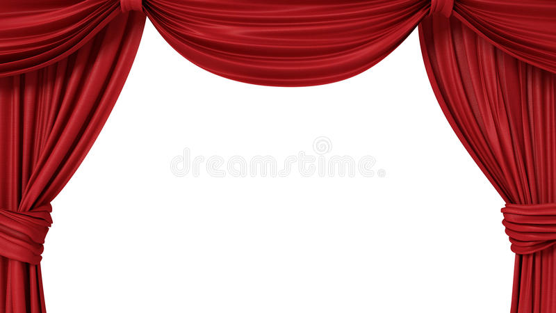 Opened red theatrical curtain. 3d illustration stock illustration