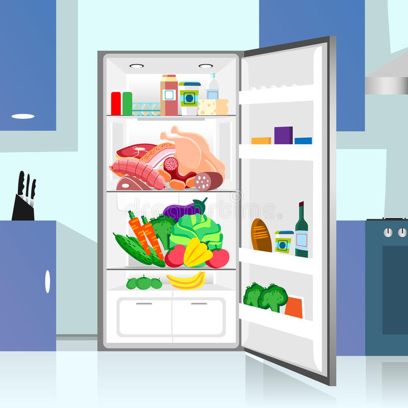Opened Refrigerator Food Home Kitchen Interior royalty free illustration