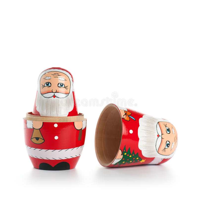 Opened Santa Doll. Opened Santa Claus Russian Nesting Doll, on white royalty free stock images