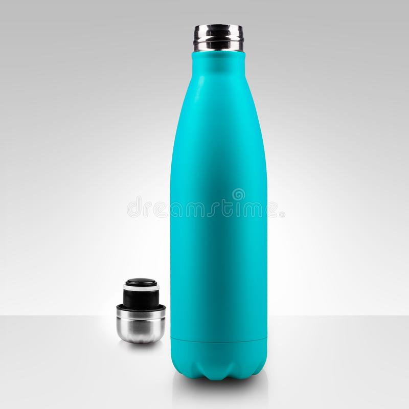 Opened stainless thermo water bottle, close-up isolated on white background. vector illustration