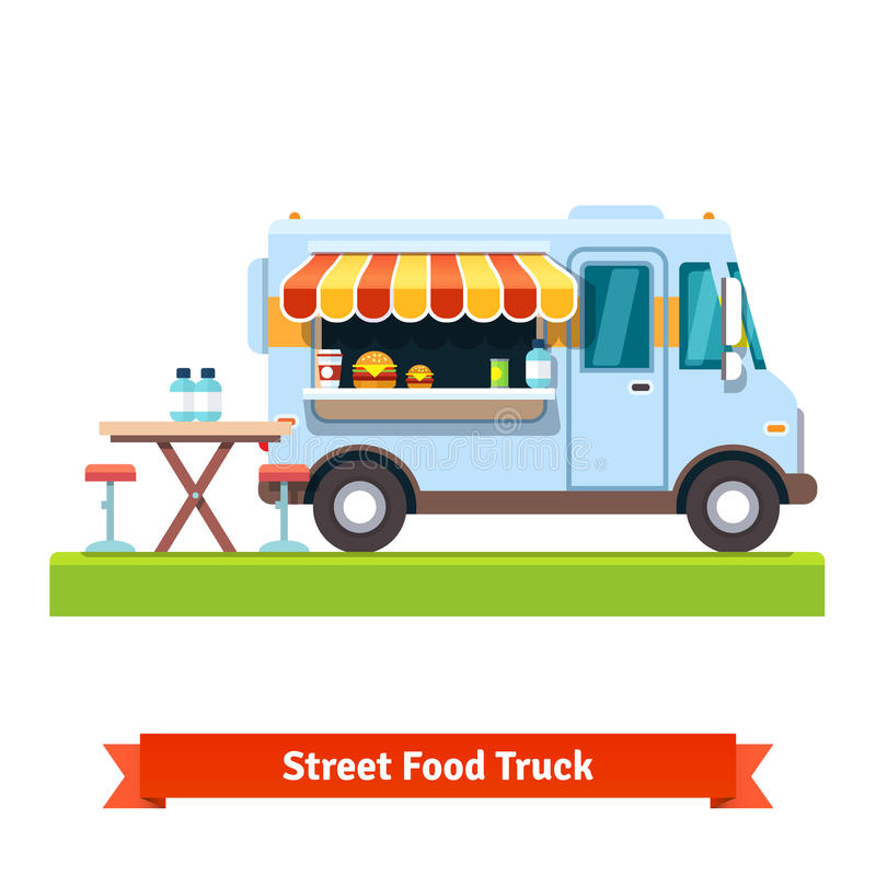 Opened street food truck with free table vector illustration