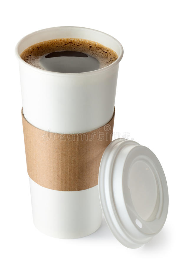Opened take-out coffee with cup holder royalty free stock photos
