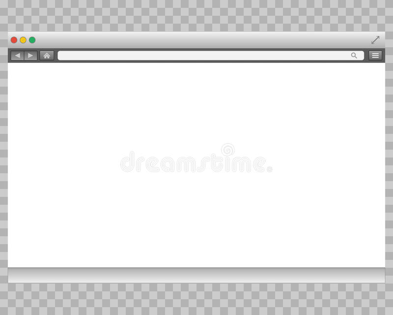 Opened template. Grey website display bar isolated. Navigation button forward, back, home, search, menu. Business. Concept commerce site. Background interface stock illustration
